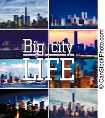 Vector background set. Blurred Defocused big city life