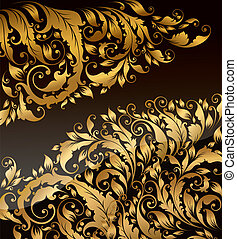 Vector background - Vector black background with gold curly...