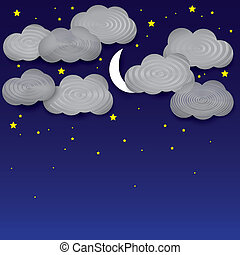 Vector background- white paper clouds, night sky, moon,...