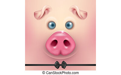 Vector background with 3d funny cartoon pig face with bow tie closeup. Cute farm animal. Illustraration of small piglet head, design template for banners, postcards etc. New Year s of Pig 2019