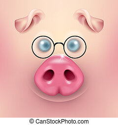 Vector background with 3d funny cartoon pig face with glasses closeup. Cute farm animal. Illustraration of small piglet head, design template for banners, postcards etc. New Year s of Pig 2019