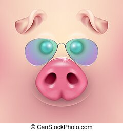 Vector background with 3d funny cartoon pig face with sunglasses closeup. Cute farm animal. Illustraration of small piglet head, design template for banners, postcards etc. New Year s of Pig 2019