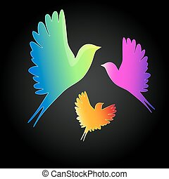 Vector background with a flying birds.