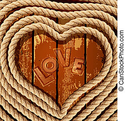 vector background with a heart of coiled rope on a wooden...