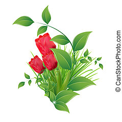 vector background with a picture of five red tulips / floral background