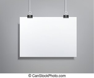 Vector background with a piece of paper hanging on the wall (element for design, template , horizontal)