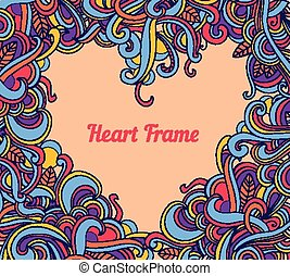 Vector background with abstract Heart frame curls.