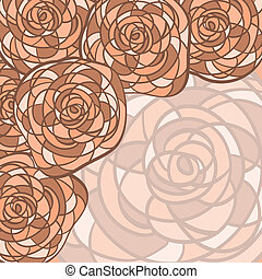 vector background with abstract roses in stained glass style