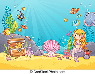 Vector background with an underwater world.