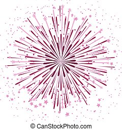 Vector background with anniversary bursting fireworks on white
