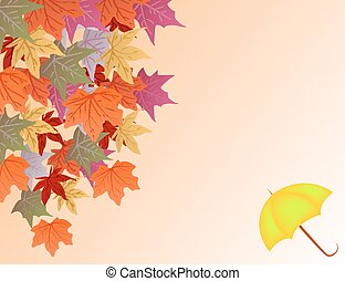 Vector background with autumn leaves and umbrella