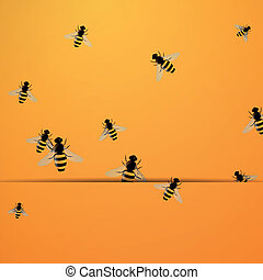 Vector Background with Bees