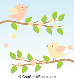 background with birds on brunches