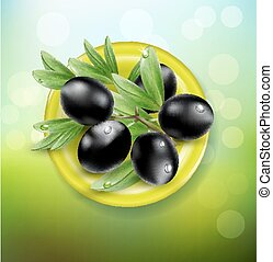 vector background with black olives