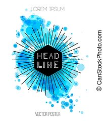 Vector background with blue color splash. Retro style design for poster or cover