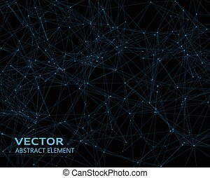 Vector background with blue geometric particles