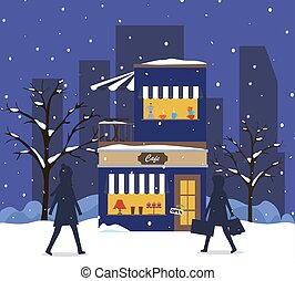 Vector background with building a cafe or restaurant in a winter park in winter or on Christmas Eve.