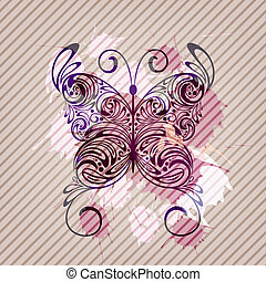 vector background with butterfly, splashes  and stripes