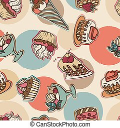 Vector background with cake in retro style.