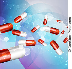 vector background with capsules (health issue)