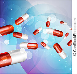 background with capsules - vector background with capsules...