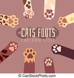 Vector background with cats foots in cartoon style. T-shirt design