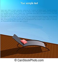 Vector Background with Chaise-longue near pool