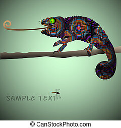 Chameleon  -  Vector background with Chameleon