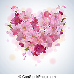 Vector spring background with gentle heart from cherry flowers and petals