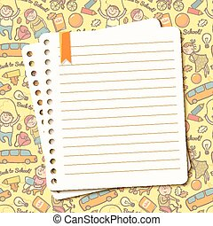 Vector background with children and torn sheet of notebook...
