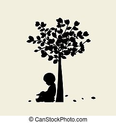 Vector background with children read a book under tree. Vector Illustration