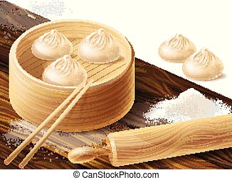 Vector background with Chinese dumplings - Vector realistic...