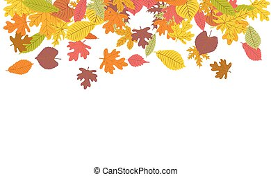 vector background with colorful autumn leaves border on white