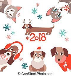 vector background with cute cartoon puppies in warm winter...