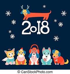 vector background with cute cartoon puppies in warm winter cloth