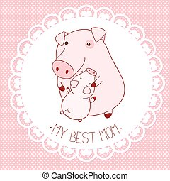 Vector background with cute pigs