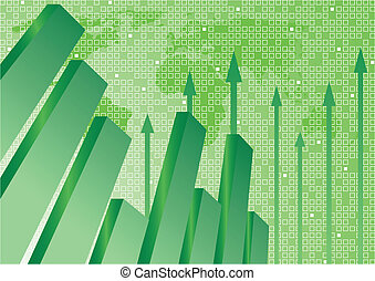 Vector background with diagram in green color; clip-art