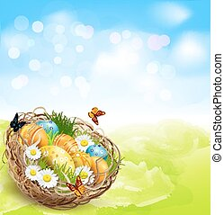 background with Easter nest and egg