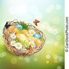 vector background with Easter nest and eggs on spring background