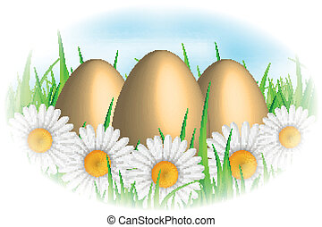 Vector background with eggs & flowe