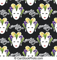 vector background with engraving Mardi Gras or Shrove Tuesday carnival mask or jester emblem. seamless pattern