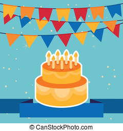 Vector background with flags and birthday cake - Vector...