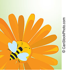 Vector background with flowers and bees