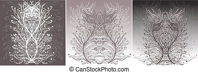 Vector background with flowers and feathers in the Baroque style. Set of vector illustration EPS10 on individual boards. Graphic background Boho style.