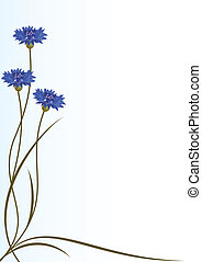 vector background with flowers of cornflowers for corner design