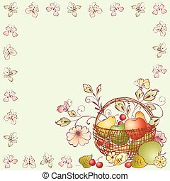Vector background with frame from butterflies and basket with ripe fruits and flowers