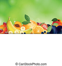 Vector Background with Fresh Fruits - Vector Illustration of...