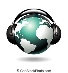 vector background with globe and headphone