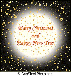 Vector background with gold stars with text (Christmas card)