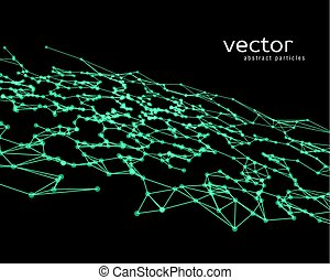 Vector background with green abstract particles.